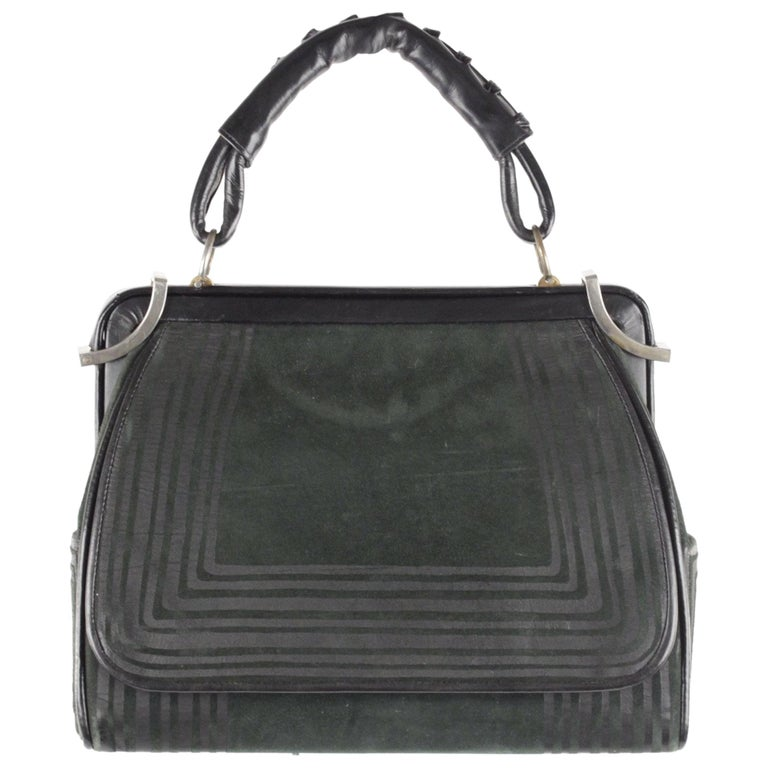 ROBERTA DI CAMERINO VINTAGE Green Black Suede TOP HANDLE BAG