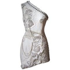 Balmain Crystal and Pearl Embellished One-Shoulder Dress