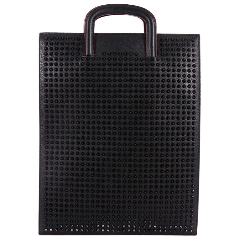 68a1fafb778 Christian Louboutin Trictrac Portfolio Bag Leather and Spiked Leather Large  For Sale