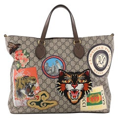 Gucci Convertible Courrier Soft Open Tote GG Coated Canvas with Applique Large