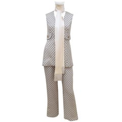 1960's Saks Fifth Avenue Mod Metallic Vest Pant Suit