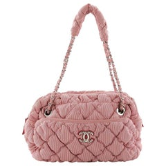 Chanel Bubble Chain Shoulder Bag Quilted Nylon Medium