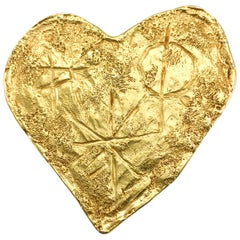 1994 Lacroix Gold-Plated Modernist Heart Brooch, by Goossens