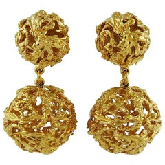 Yves Saint Laurent YSL Vintage Gold Toned Ball Dangling Earrings