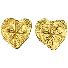 1994 Christian Lacroix Gold-Plated Modernist Heart Earrings