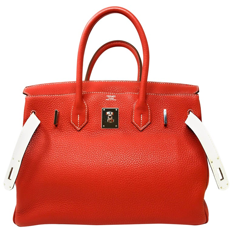 f2a01e4c474 Hermes Birkin 30cm Two Tone Sanguine Blanc For Sale at 1stdibs