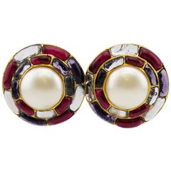 1994 Fall Chanel Poured Glass and Pearl Circle Earrings