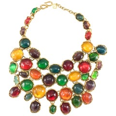 Yves Saint Laurent Haute Couture Chunky Colourful Resin Gem Bib Necklace, 1989