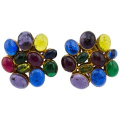 Chanel Poured Glass Cluster Earrings, 1980s