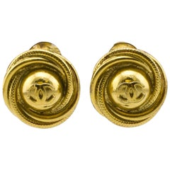 Chanel Fall Collection Gold CC Earrings, 1997