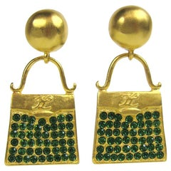 1990s Karl Lagerfeld Gilt and Glass Handbag Earrings New Never Worn