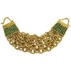 1990s Karl Lagerfeld Gold Gilt and Glass Handbag Bracelet New Never worn