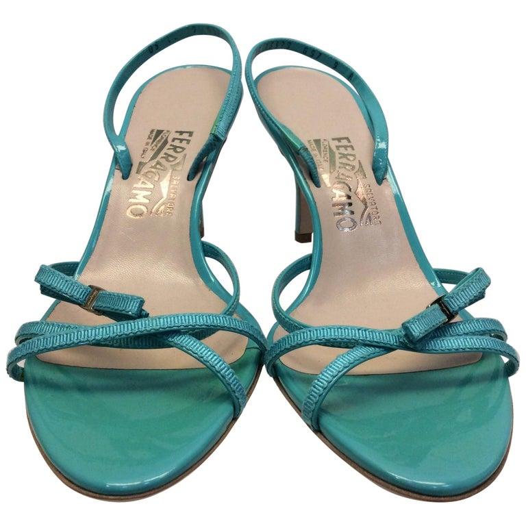 Salvatore Ferragamo Turquoise Strappy Sandal For Sale