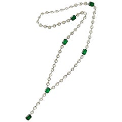 Silver/ emerald glass and clear crystal sautoir necklace, France, 1920s