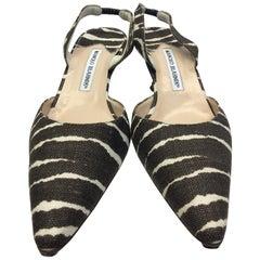 Manolo Blahnik Brown and White Stripe Slingback Heels
