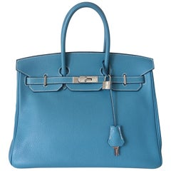 Hermès Taurillon Clemence Bleu Jean PHW 35 cm Birkin Top Handle Bag