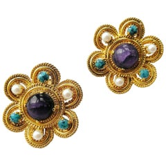 Christian Dior Large gilt metal and paste earrings, 1970