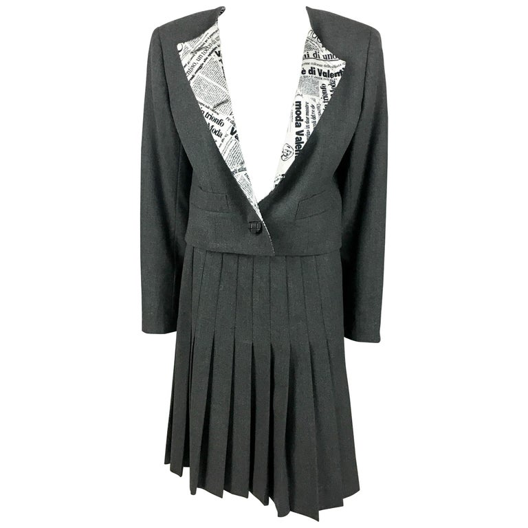 d310000a7 1990's Valentino Gray Wool Skirt Suit with Newspaper Print Lining For Sale