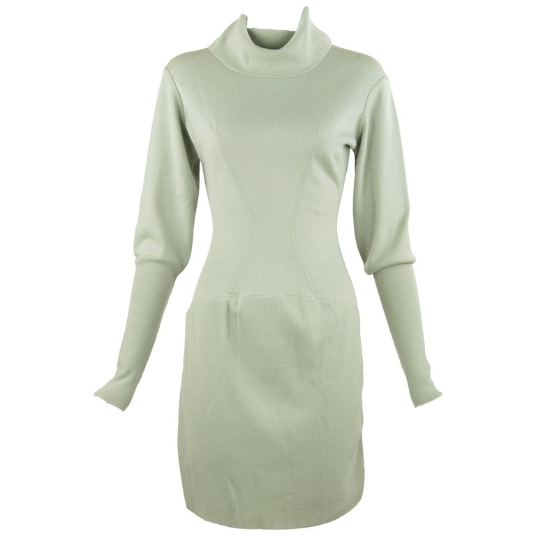 bfb5a84c712 Alaia Vintage Light Green Knit Dress For Sale at 1stdibs