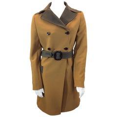Prada Tan and Brown Belted Coat