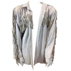 In Transit White Leather Fringe Jacket