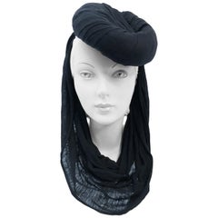 Black Silk Jersey Modified Turban, circa 1940