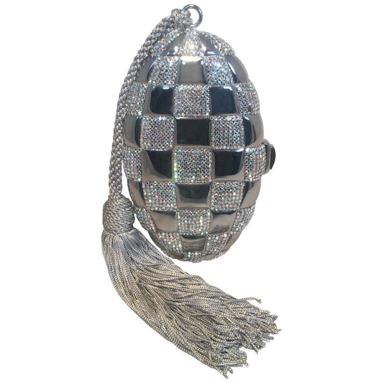 Judith Leiber Swarovski Crystal Checkered Grenade Minaudiere Evening Bag For Sale