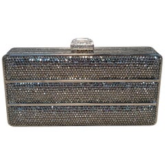 Judith Leiber Silver Swarovski Crystal Stripe Minaudiere Evening Bag Clutch