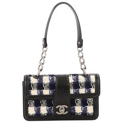 Chanel Aged Chain CC Top Handle Flap Bag Tweed Small