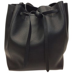 Celine Cabas Black Leather Tote