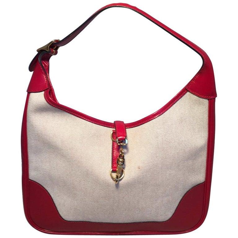 Hermes vintage Canvas and Red Leather Trim Shoulder Bag For Sale