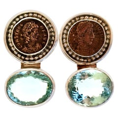 20th Century 925 Sterling & Aquamarine Roman Coin Earrings By, Rebecca Collins