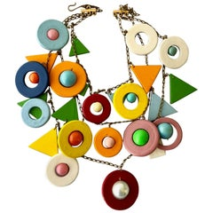 Italian Wooden Pop Art Vintage Bib Necklace, 1960s