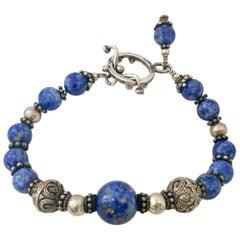 20th Century Lapis Lazuli & Sterling Silver Bead Bracelett