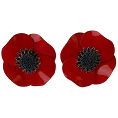 Dramatic French Red Poppy Statement Earrings