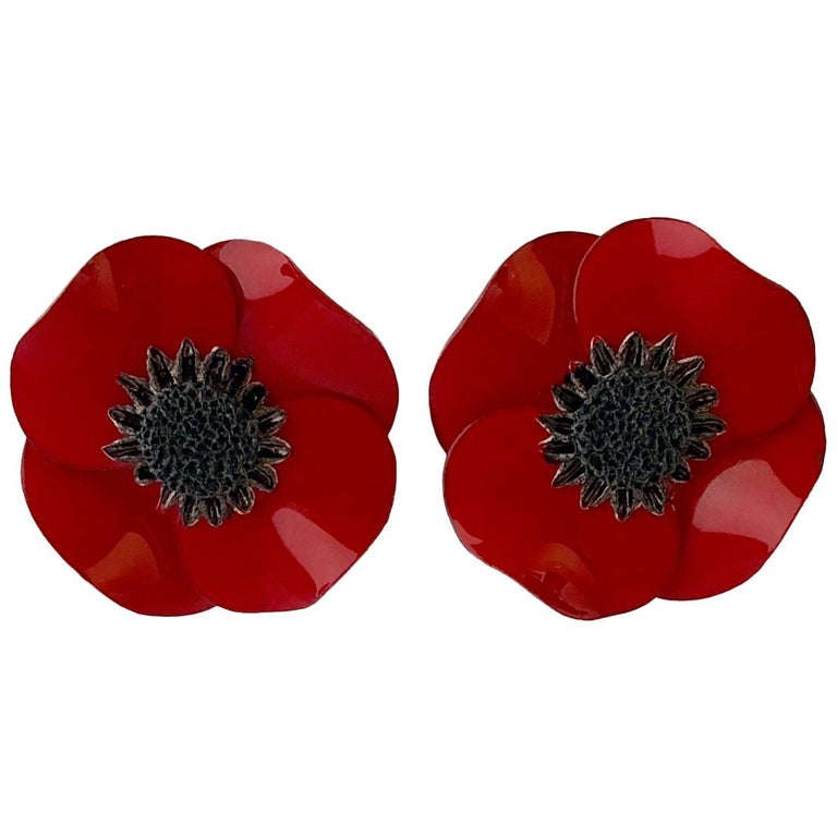 Dramatic French Red Poppy Statement Earrings For Sale At 1stdibs