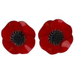 Dramatic Red Poppy Statement Earrings