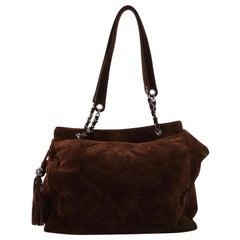 Chanel Triple CC Chain Shoulder Bag Suede Large