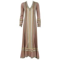 1975 Sant' Angelo Taupe Jersey Knit Ribbon Lace Applique Bohemian Maxi Dress