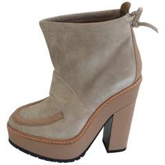 Hermes Beige Suede Platform Booties, Size 35 (US 5)