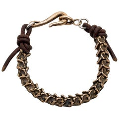 Bronze and Leather Rattlesnake Vertebrae Bracelet