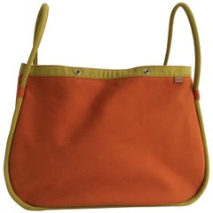 Hermes Canvas Travel Bag, Hermes Orange and Daffodil