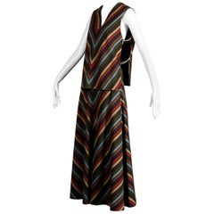 Wool Chevron Striped Metal Chain Vest Top Maxi Skirt 2-Piece Ensemble, 1970s