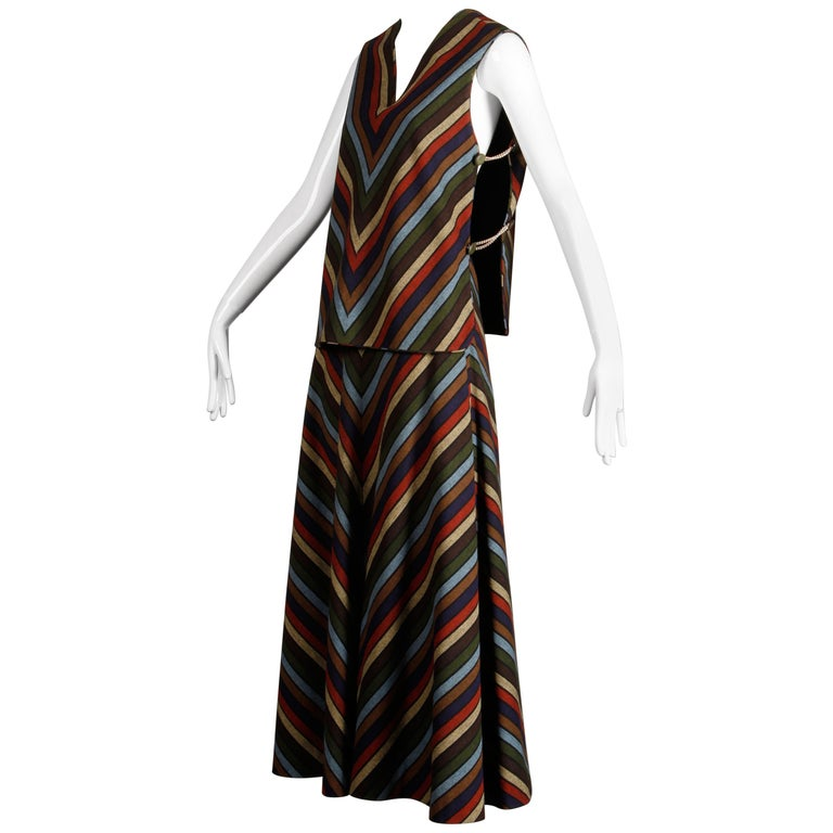 Wool Chevron Striped Metal Chain Vest Top Maxi Skirt 2-Piece Ensemble, 1970s  For Sale