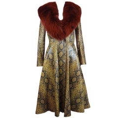 Alexander McQueen Python Embossed Leather & Fox Fur Coat, Pre-AW 16, Size 38 IT