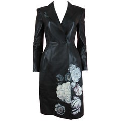 Alexander McQueen Black Lamb Leather Coat with Hand-painted Flowers, AW 16
