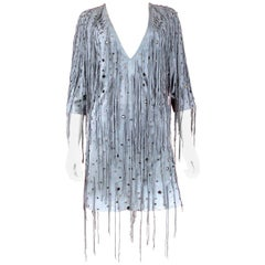 Bottega Veneta Arctic Suede Fringe Dress, SS 18, Size 4