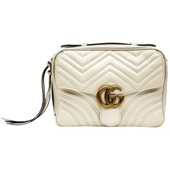 Gucci White Leather Shoulder Marmont Bag