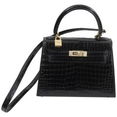 One of a Kind Hermes Kelly 20 Black Crocodile, 18k gold hardware and diamonds