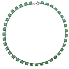 Art Deco Silver Open Back Square Green Crystal Necklace